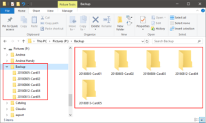 Folder structure on primary back-up disk
